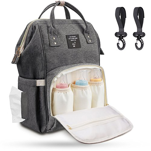 Baby Wickeltasche Wickelrucksack mit Kinderwagenhaken, Airlab Multifunktionale Babytasche mit vielen Fächern, Großer Stauraum für Spielzeug, Windeln, Trinkflaschen, Handys und andere Babysachen