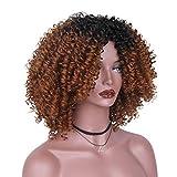 Unbekannt Perücke- Damen Kurze Lockige Haar Perücke Haarschmuck Spitzefrontseite Kurze Flauschige Welle Vollsynthetische Perücke