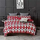 L-MEIQUN,Cuatro Juegos de sábanas nítidas y Simples en la Cama en el Estilo Romano de Vacaciones(Color:Rojo Cereza,Size:Doble)
