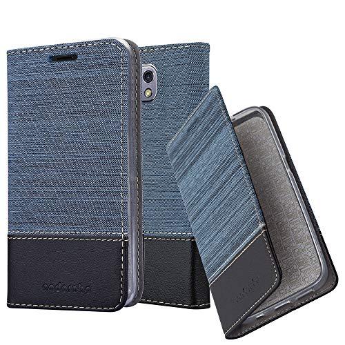 Cadorabo Hülle für LG X CAM - Hülle in DUNKEL BLAU SCHWARZ – Handyhülle mit Standfunktion und Kartenfach im Stoff Design - Case Cover Schutzhülle Etui Tasche Book