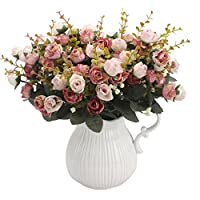 Amkun 7 Branch 21 Heads Artificial Rose Silk Fake Flowers Home Party Wedding Decor Bouquet,Pack of 2 (Pink Coffee)