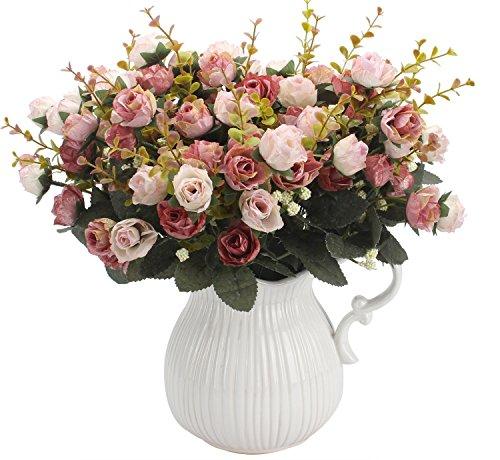 Amkun Kunstblumenstrauß mit künstlichen Rosen, 7Stiele, 21Blüten, Seidenblumen, toll als Deko für Zuhause, Hochzeiten, Partys, 2Stück Pink Coffee