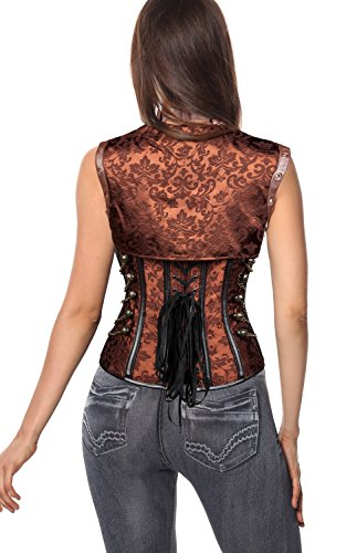 Charmian Women's Steampunk Vintage Spiral Steel Boned Brocade Bustier Corset Top Heavy-Strong-Steel-Light-marrone
