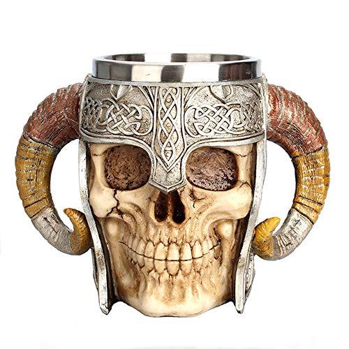 Kreative Ritter Helm Tassen Doppel Edelstahl Kaffeetasse Doppel Antilope Horn 3D Becher Lustige Hot Drink Cup -