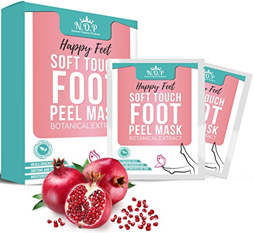 2 Pairs Foot Peel Mask, Exfoliating Socks, Callus Remover, Cracked Heel Detox with Pomegranate Seed Oil and Botanical extract; Natural Exfoliator for Dry Dead Skin; Repairs Rough Heels by N.O.P