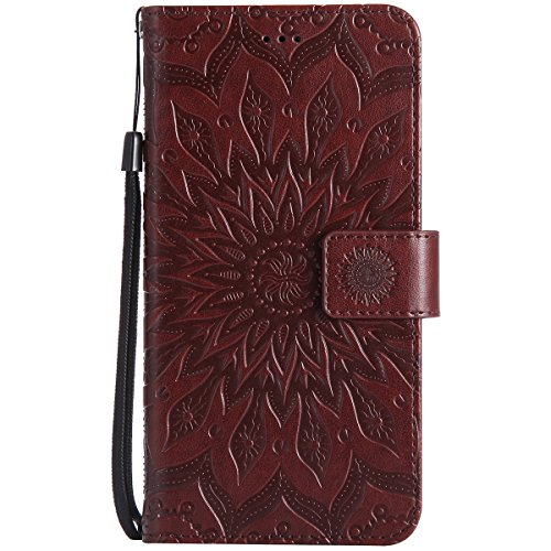 Coque Cuir Etui Pour Google Pixel XL,Google Pixel XL Portable Coque Housse,Ekakashop Jolie Rouge Tournesol Painting Bookstyle Rabat Shell Silicone Etui Flip Cover Smart Case Housse de Protection Porte Brun