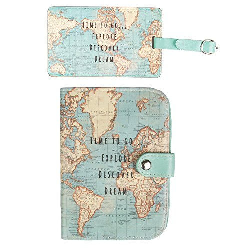 Sass & Belle Vintage World Map - Funda para pasaporte Multicolor Set of 2