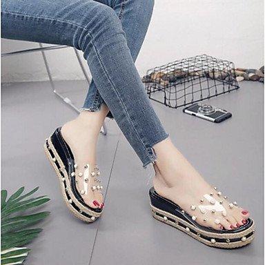 RUGAI-UE Estate Moda Donna Sandali Casual PU scarpe tacchi comfort,blu,US3.5 / EU33 / UK1.5 / CN32 Black