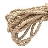 Cuerda gruesa y resistente de yute natural de 10 metros, 4 capas, cuerda perfecta para artesanía, embalaje, jardinería y reciclaje, 10 mm de grosor
