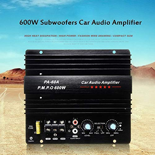 Yaoaomon 12V 600W High Power Car Audio Verstärker Leistungsstarker Bass Subwoofer Verstärker PA-60A schwarz 600w Car-audio