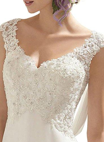 Azbro Women's Double V-neck Sleeveless Lace Wedding Dress Evening Dress white