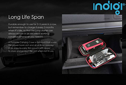 Indigi® Smallest Most Powerful Portable 12 Volt Emergency Car Jump Starter Power Bank (Blue)