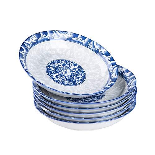 Cutiset Plato Hondo para 6 Personas, de Porcelana Azul y Blanca, 20,3 cm, 650 ml, Porcelana, Blau und Weiß, 8 Inch