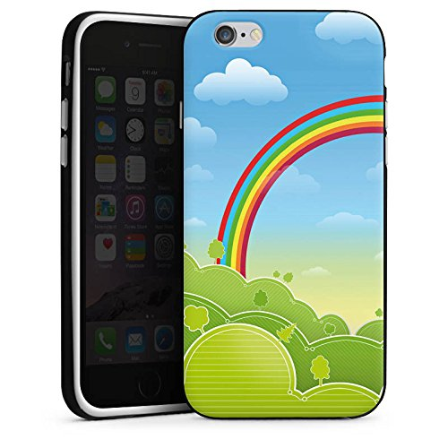 Apple iPhone X Silikon Hülle Case Schutzhülle Regenbogen Comic Wald Silikon Case schwarz / weiß