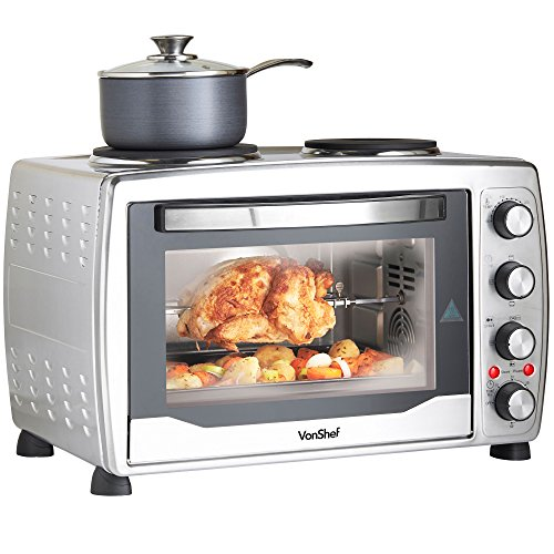 VonShef 36L Mini Oven, Grill & Rotisserie with Double Hot Plates – Large Oven, Stainless Steel – Includes Baking Tray & Wire Rack