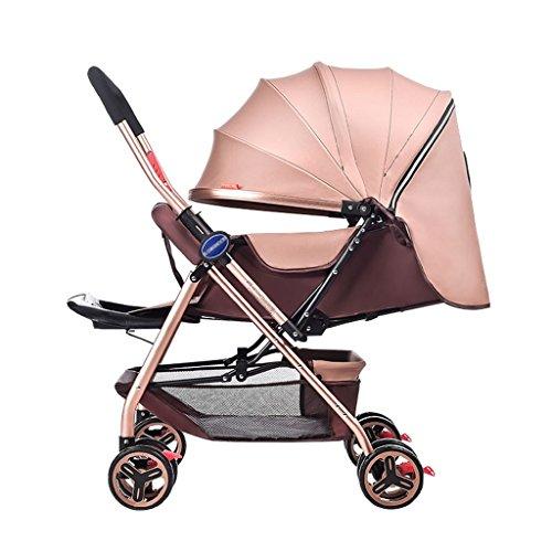 Babywagen Neugeborene Kinderwagen Faltbar Kann Sitzen Und Lie Down Damping Baby Cart für 1 Monat -5 Jahre Alt Baby Zwei-Wege 8 Räder vermeiden Schütteln Baby Trolley Markise FAHRRAD ( Farbe : Khaki )