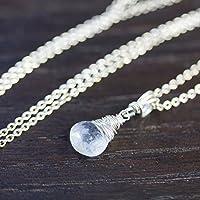 Zierliche Edelstein-Kette mit facettiertem weißem Regenbogen-Mondstein aus echtem 925 Sterling Silber / auch als Set mit Ohrringen oder Steckern / auch mit Magnetverschluß
