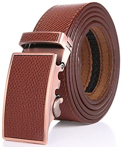 Marino Men's One Piece Leather Ratchet Dress Belt with Automatic