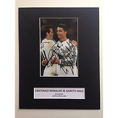 Edizione limitata cristiano ronaldo Gareth Bale Real Madrid firmato Photo Display + Cert autografo stampato Edizione Limitata