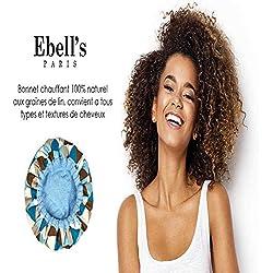 Bonnet Chauffant sèche-cheveux sans fil Ebell's micro-ondable pour soins capillaires à la maison 100% coton, Graines de lin, Réversible, Chaleur longue durée, Coiffure et traitement des cheveux.