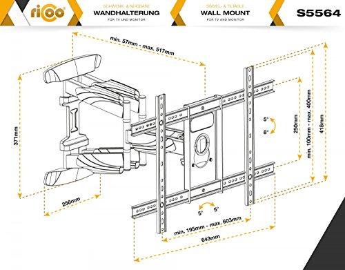 """RICOO TV Wandhalterung S5564 Fernseh Universal Halterung Schwenkbar Neigbar Aufhängung Curved LCD Fernseherhalterung Wand Halter Flach 94-178cm 37\""""-70\"""" Zoll VESA 200x200 600x400 Schwarz"""
