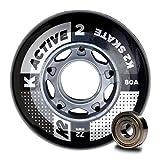 K2 30B3007.1.1.1SIZ - Juego de 8 Ruedas Active Wheel para Patines en línea, 72 mm, ILQ 5, tamaño único