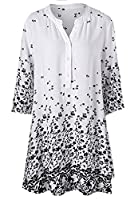 Tootlessly Women's Button Down Casual Half Sleeve Summer Short Dress White L
