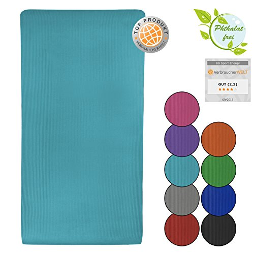 Yoga-Matte ENERGY 190 cm x 100 cm x 1.5 cm Yogamatte rutschfest phthalatfrei für Gymnastik Turnen Pilates extra dick, Farbe:Fresh Turquoise