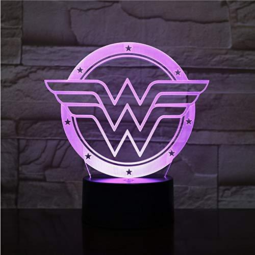 Crjzty Wonder Woman Logo Usb 3D Led Nuit Lumière De Bande Dessinée Superhero Garçons Enfant Enfants Cadeaux D'Anniversaire Lampe De Table Chevet Dc Justice League