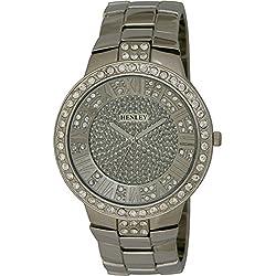 Strasssteine Henley Herren-Armbanduhr Disciplin Analog-Anzeige und Silber-Edelstahl-Armband HB008.1