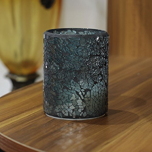 Blue Mosaic Glass Fragment Led Candle, Flameless Candles, with 4&8 Hours Timer ,Battery Powered, 7,6x15,2 cm