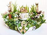 Osterkranz Frühlingsdeko Frühlingskranz IT'S TEA TIME Tischdeko Osterkranz Landhaus Romantisch Tischlranz Frühjahrsdeko Wohndeko Luxus braun grün weiß
