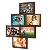 Fotogalerie für 6 Fotos 13x18 cm - 3D 603 Optik - Bilderrahmen Bildergalerie Fotocollage Rahmenfarbe Dunkelbraun