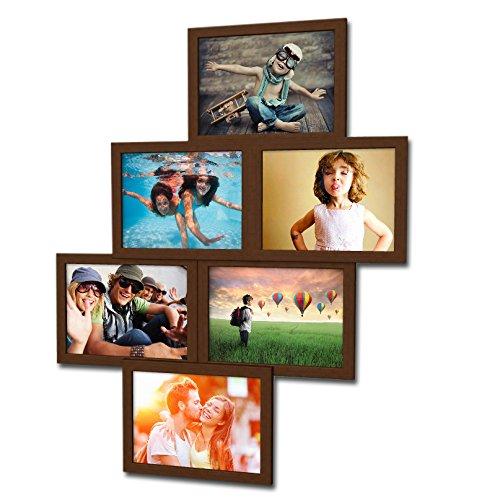 Fotogalerie für 6 Fotos 13x18 cm - 3D 603 Optik - Bilderrahmen Bildergalerie Fotocollage Rahmenfarbe Dunkelbraun (Foto-rahmen-16x16)