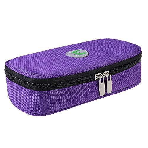Temperaturanzeige Insulin kühltasche Diabetiker Tasche Medikamenten Kühltasche für Diabetikerzubehör (Lila - Nein Kühlakkus)