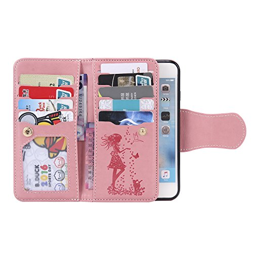 Cozy Hut Schutzhülle Apple iPhone 6 6S Plus Hülle im Bookstyle Blaue Federn mit Magnetverschluss und Standfunktion Kunstleder Wallet Case für iPhone 6 Plus / 6S Plus (5,5 Zoll) - Blaue Federn rosa