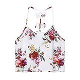 TUDUZ Sommer Damen Bogen Blumendruck Armelloses Crop Top Weste Tank Basic Shirt Oberteile(XXL,Weiß)