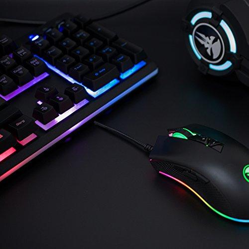 Gaming Tastatur mechanisches Gefühl Chroma RGB Beleuchtung und Vollhohen Tastenkappen Ergonomischen Design Business&Gaming-Tastatur Horsky, QWERTZ, Deutsche Layout  - 7