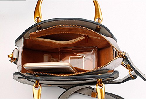 Actlure Women Genuine Cowhide Leather Round Shape Top handle Shoulder Purse Crossbody Bag Black