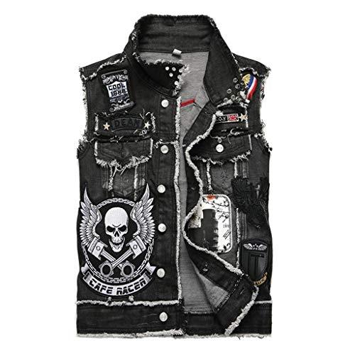 Vest Chaleco de Mezclilla de los Hombres jóvenes cráneo Negro...