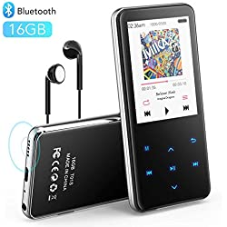 AGPTEK 16Go Haut-Parleur MP3 Bluetooth 4.1 en Métal, 2,4 Pouces Écran Miroir Lecteur Musical avec Bouton Tactile/Volume Indépendant, Baladeur MP3 Sport Radio FM, Port Carte SD Jusqu'à 128G-T01S Noir