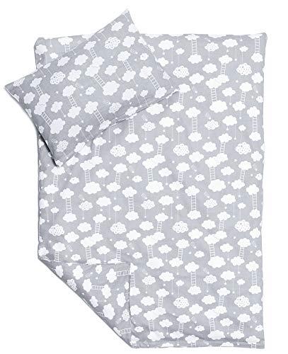 NEU! Kinderzimmer Babybett Bettwäsche Bettbezug und Kissenbezug Set 100 cm x 135 cm 100% Baumwolle Hergestellt in Europa (Wolken)
