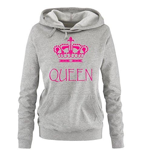 Comedy Shirts - Queen - Damen Hoodie - Grau/Pink Gr. L