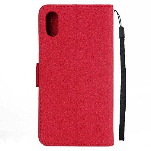 iPhone X Hülle,MSK® iPhone X Ledertasche Handyhülle [Campanula Flash] Wallet Case Cover Tasche Flip Hülle im Bookstyle Schale Etui Schutzhülle Für iPhone X - Grau Rot