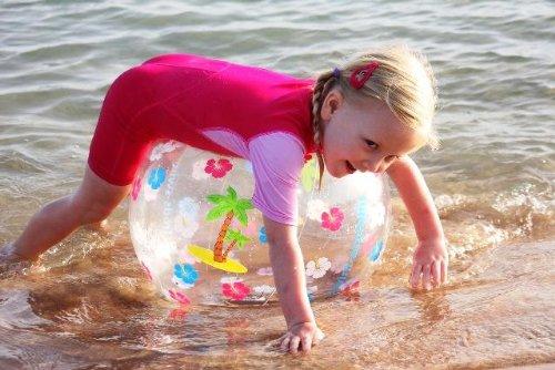 Freds Wasserball Strandball Beach Ball robust Hibiskus Design für Groß und Klein d = 40 cm