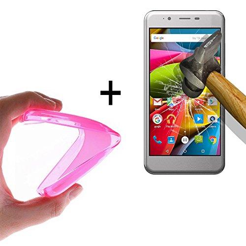 WoowCase | Flexible Gel Schutzhülle für [ Archos 50Cobalt ] [ +1 Schutzglas ] Hartglas, Archos 50Cobalt Hülle Case TPU Silikon in Rosa