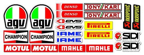 Set di adesivi, per go-kart e macchine da corsa, confezione da 22 adesivi di sponsor motoristici