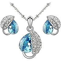 Le Premium® - insieme dei monili collana pendente foglia + orecchini Swarovski a forma di goccia d'acqua Acquamarina cristalli blu