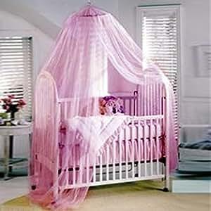 SA Blanc Bébé Canopy / moustiquaire pour lit bébé / petit lit (rose)