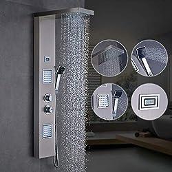 Auralum Ensemble de robinets de douche multifonctions thermostatiques pour robinets de salle de bains avec LCD digital avec pomme de douche et douchette